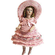 "Doll Dress Pants Bonnet for Miniature Bisque French Mignonette 4.5"" - 6 Inch Doll"