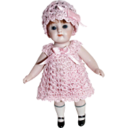 """3pc Doll Dress, Pants, Cloche Hat for Miniature Bisque French Mignonette 4.5"""" - 5 Inch Doll"""