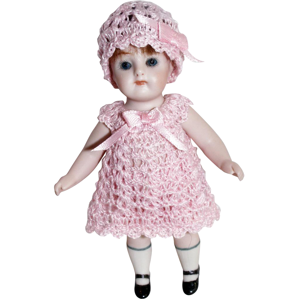 "3pc Doll Dress, Pants, Cloche Hat for Miniature Bisque French Mignonette 4.5"" - 5 Inch Doll"