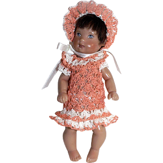 "Peach Doll Dress Pants Bonnet for Miniature Bisque French Mignonette 4.5"" - 6 Inch Doll"