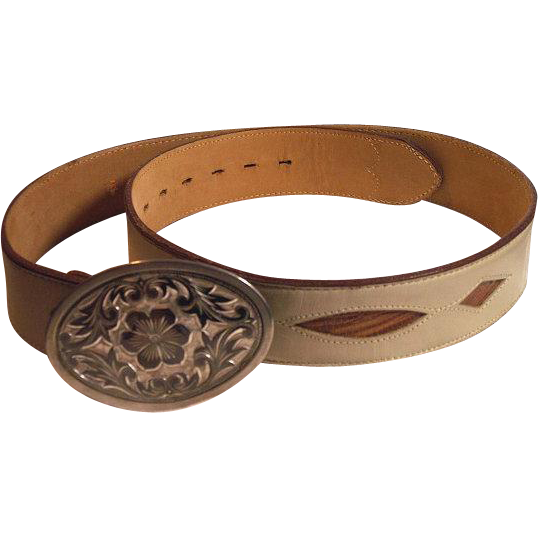 "Genuine Lizard Leather JUSTIN Western Cowgirl Belt 1-3/8"" with Buckle 32 - 35"" Beige Tan Unisex"