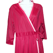 Vanity Fair Robe Women's Vintage Lounge Lingerie Size L Long Maxi Fuchsia Pink