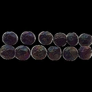 12 matching round Victorian matching jet buttons