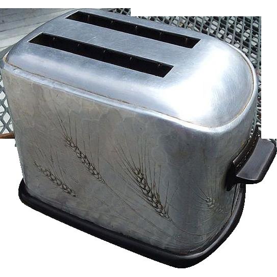 Vintage 1930 s Toastmaster Aluminum Wheat Design Toaster Wendell