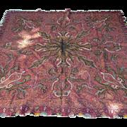 Antique Hand Woven Kashmir India Paisley 19th Century  Shawl