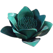 Vintage Green Lotus Flower Frog for Floral Arrangements