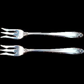 """International Prelude Sterling Silver Cocktail Forks (2) 5.75"""""""