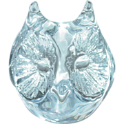 French Daum Signed Large Crystal Owl Paperweight 1960-1970's