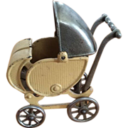 Vintage Cast Iron Toy Large Size Doll Carriage