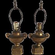 Antique Bronze Clad Lamps Art Deco - Pair Neoclassical Urn Shape Circa 1925
