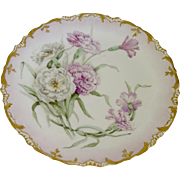 Antique D&C Limoges 8.25' Hand Painted Floral Plate Gold Trim Signed 1899