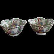 Vintage Chinese Porcelain Rose Medallion Mandarin Rice Bowl Qianlong Period