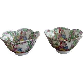 Vintage Chinese Porcelain Rose Medallion Mandarin Rice Bowl Qianlong Period