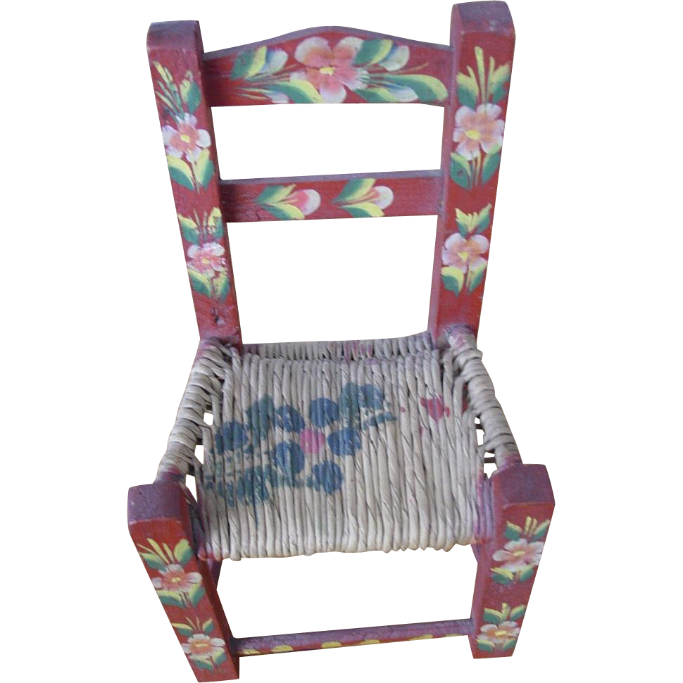 Hand Painted Mexican Folk Art Rush Seat Child S Doll Chair Creekside Manor Ruby Lane