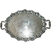 """Barker Brothers 29"""" Long Silver Plate Handled & Footed Serving Tray"""