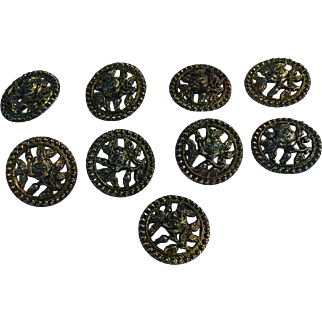 """9 Victorian Pierced Metal Rose Floral Picture Buttons 1 3/16"""""""