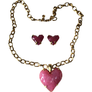 """Givenchy Gold Metal Chain & Pink Jelly Lucite Heart Pendant Necklace & Earrings 40"""""""