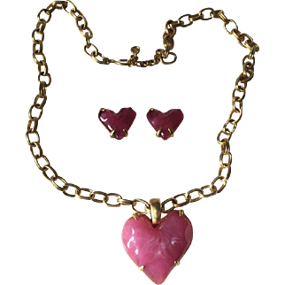 Givenchy Gold Metal Chain & Pink Jelly Lucite Heart Pendant Necklace & Earrings 40""