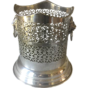 Silver Plate Wine Champagne Coaster Holder Stand Israel Freeman & Son Ltd. Lion Heads