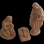 """ANRI Holy Family Nativity 3 Piece Mary Joseph Baby Jesus Natural Wood 4"""""""