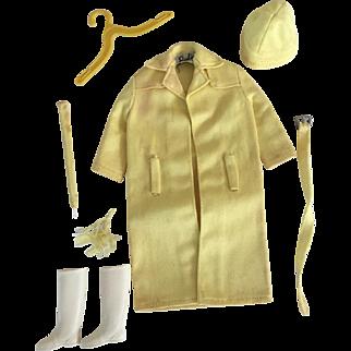 1960's Barbie Doll Stormy Weather #0949 Yellow Rain Coat, Belt, Hat, Boots, Hanger