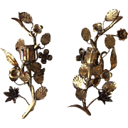 Pair of Vintage Italian Florentine Candle Holders Wall Sconce Candelabra Tole