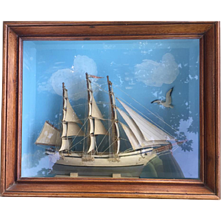 Antique Shadowbox Sailing Ship Diorama