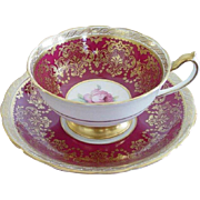 Paragon Tea Cup & Saucer Burgundy, Gold & Roses