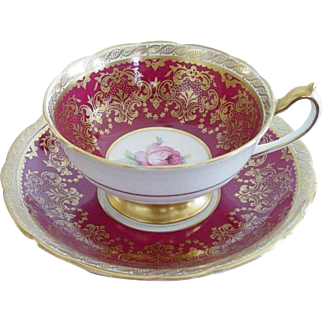 Paragon Tea Cup & Saucer Burgundy, Gold & Roses