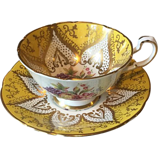 Paragon China Cup & Saucer Yellow with Gold Accents & Fruit Design