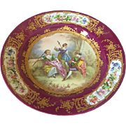 "Sevres Style Hand Painted Porcelain 13"" Charger"