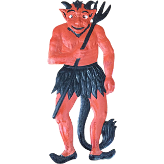 Vintage German Halloween Die Cut Large Devil