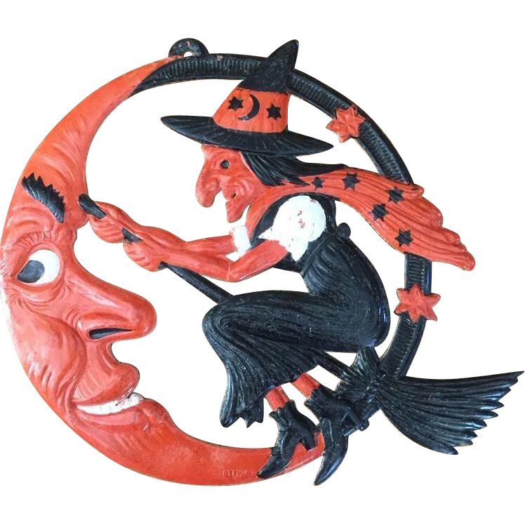 Antique Germany Halloween Large Crescent Moon & Witch Embossed Die Cut Decoration
