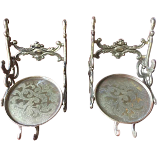 Two Solid Brass Ornate Cup & Saucer Display Holder/Stand/Easel, Patented