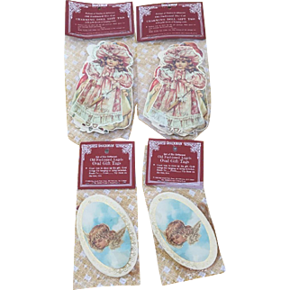 Shackman 1986 Old Fashioned Die-Cut Doll & Angels Gift Tags New in Pkg.
