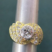 Unique Lady's 18K Yellow Gold 2+ Carat Diamond Ring