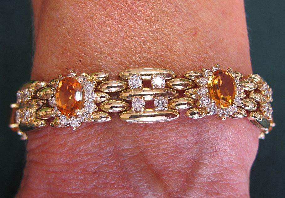 14K KT Yellow Gold VS Diamond & Citrine Bracelet