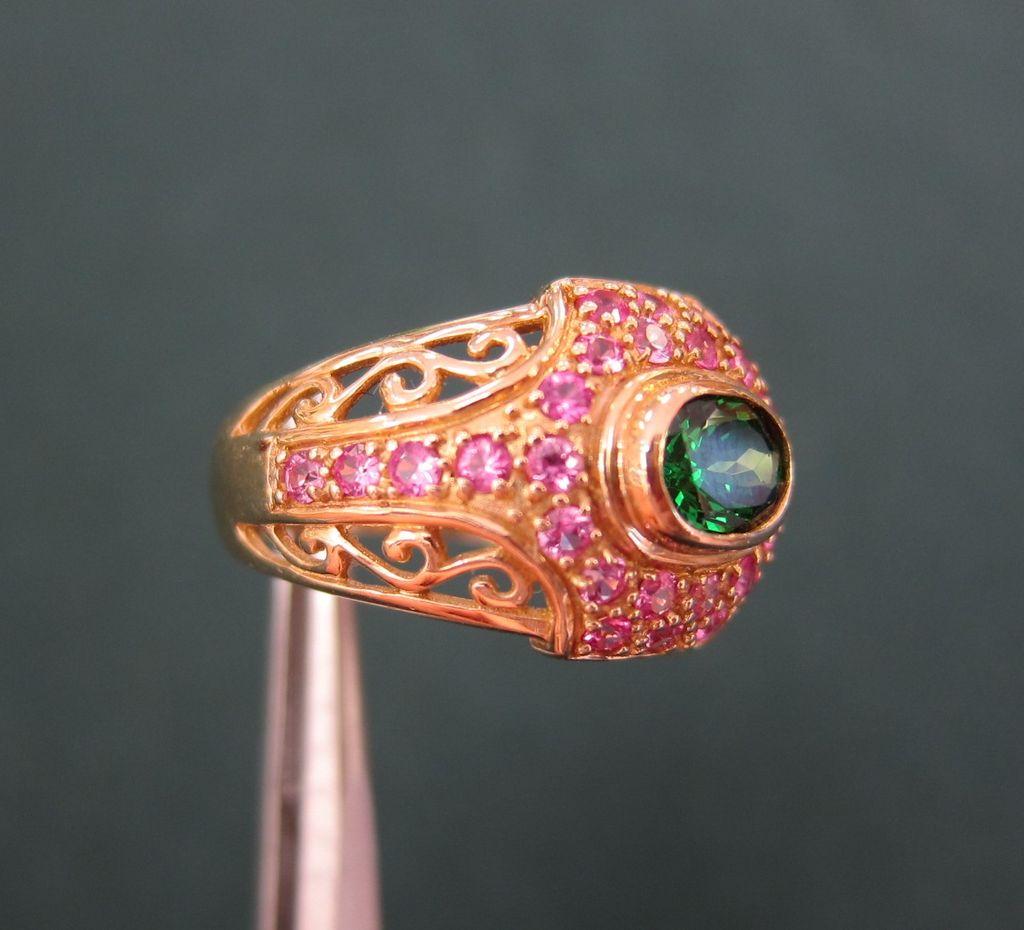 Lady's 14K KT Gold Ring Tsavorite Garnet & Pink Sapphires