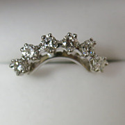 Lady's 14K White Gold Ring Guard- VVS & VS Clarity White Diamonds