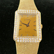 14K Unisex Geneve Yellow Gold and VS Diamond Watch