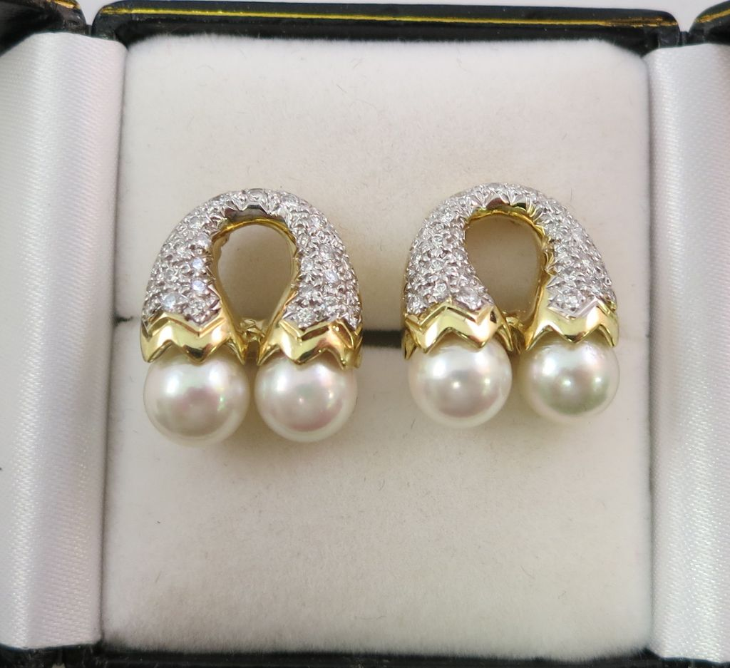 18K Yellow Gold Cultured Pearl & Diamond Clip-On Earrings