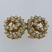 Yellow Gold Earrings 2 Carat VS Diamonds