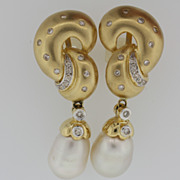 Lady's 14K Yellow Gold Diamond & Pearl Earrings