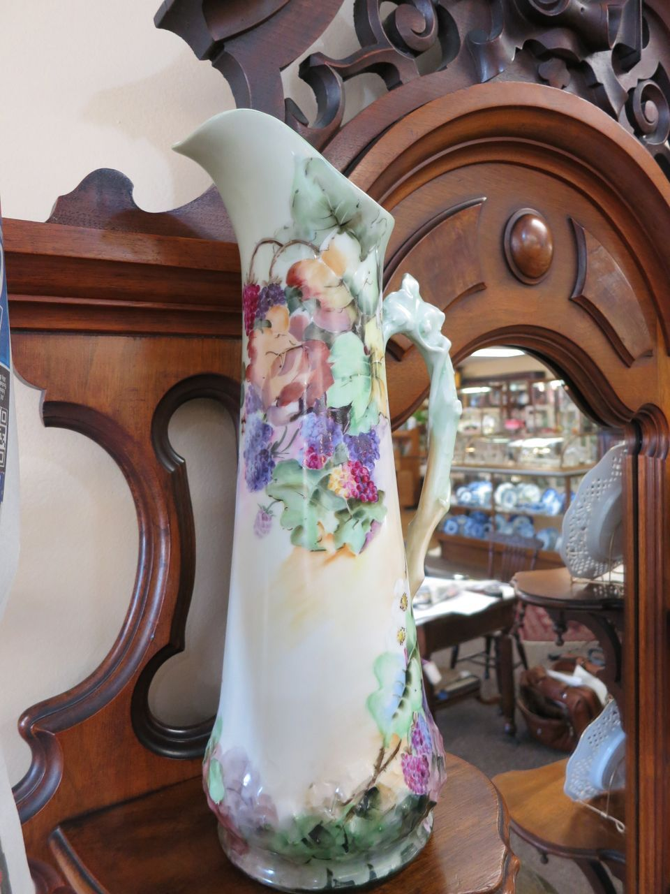 Tressemann & Vogt ( T & V ) Huge Limoges Handpainted Tankard -Berries