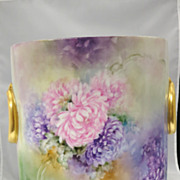 Limoges Handpainted Cachepot Vase with Mums in Vivid Colors