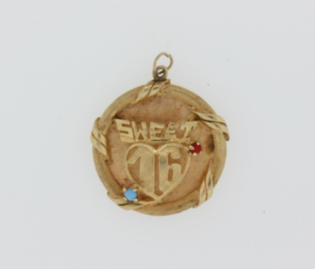 14K Yellow Gold Sweet 16 Charm / Pendant