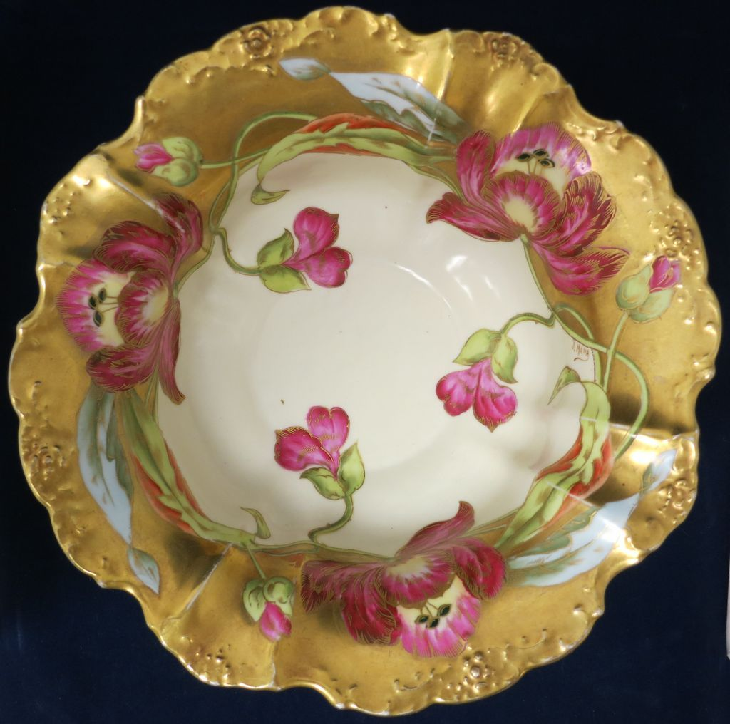 Limoges Handpainted Footed Large Bowl - Lots of Gold