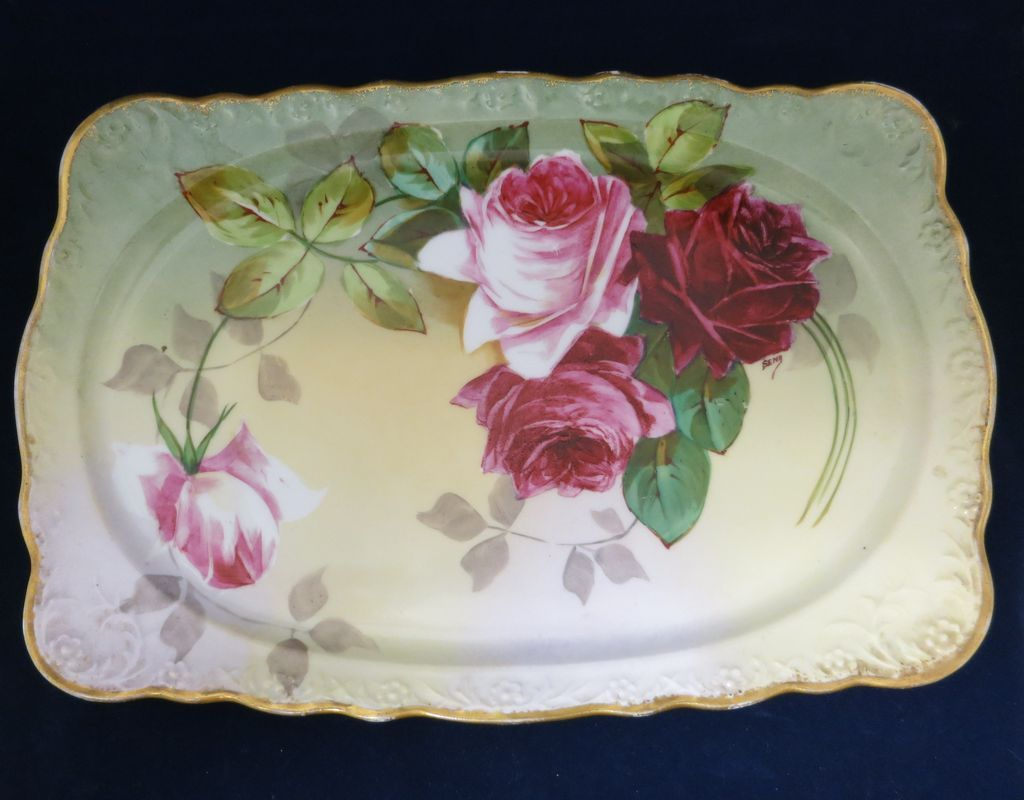 A & D Limoges Roses Tray - Lovely Artist Signed Piece