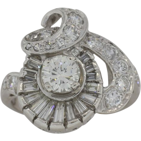 Lady's Platinum & VS Diamond Vintage Cocktail Ring