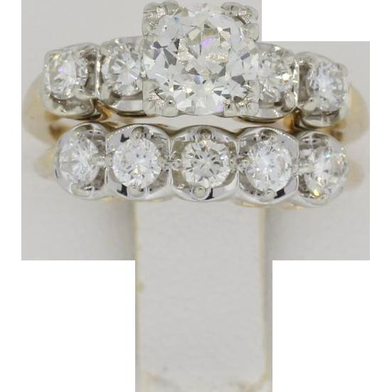 14K Yellow Gold 2 Plus Carat Bridal Set - 1.12 VVS Center